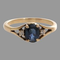Sapphire Diamond Cocktail Ring | 14K Yellow Gold | Vintage Three Stone