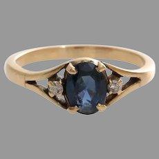 Sapphire Diamond Cocktail Ring   14K Yellow Gold   Vintage Three Stone