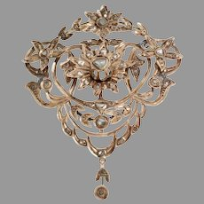 Ottoman Diamond Pendant   9K Rose Gold   Antique Pectoral Jerusalem