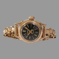 Russian Ladies Wrist Watch   14K Yellow Gold   Vintage Round Rose