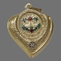 Witchs Heart Diamond Pendant | 14K Yellow Gold Enamel | Judaica Vintage