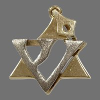 Magen David Pendant   14K Bicolor Gold   Vintage Judaica Star Charm