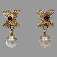 Pearl Garnet Drop Earrings | 14K Yellow Gold | Vintage Retro Cabochon