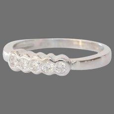 Five Stone Diamond Ring | 14K White Gold | Vintage Engagement Round