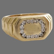 Retro Diamond Mens Ring | 14K Yellow Gold | Vintage Gents Signet Round