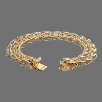 Retro Link Chain Bracelet   14K Yellow Gold   Vintage Rope Chunky USA