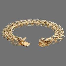 Retro Link Chain Bracelet | 14K Yellow Gold | Vintage Rope Chunky USA