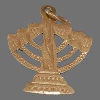 Menorah Gold Pendant Charm   18K Yellow Judaica   Israel Vintage