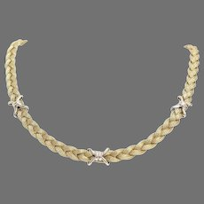 Gold Braided Necklace   14K Yellow White   Vintage Italy Bicolor X