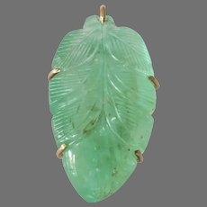 Carved Emerald Leaf Pendant | 14K Yellow Gold | Vintage Israel Green