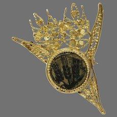 Wheat Pendant Brooch | 21K Yellow Gold | Bronze Prutah Judea Vintage