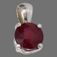 Ruby Gold Pendant   14K White Round Cut   Vintage Israel Solitaire Red