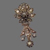 Ottoman Diamond Flower Brooch | 9K Rose Gold | Antique Floral Pin