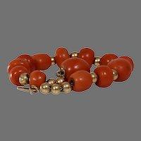 Victorian Coral Bead Bracelet | 14K Gold Salmon | Antique Orange Yellow