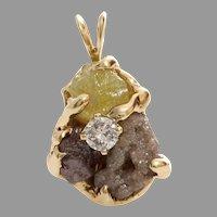 Uncut Fancy Diamond Pendant | 14K Yellow Gold | Rough Modernist Israel