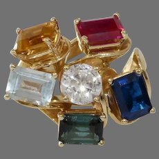 Multi Gem Cocktail Ring   14K Yellow Gold   Vintage Sapphire Ruby
