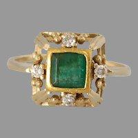 Retro Emerald Cocktail Ring | 18K Yellow Gold | Diamond Step Cut Vintage