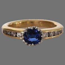 Sapphire Diamond Engagement Ring | 14K Bicolor Gold | Vintage Natural