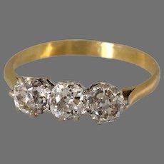 Art Deco Diamond Engagement Ring | Three Stone 18K Gold | European Cut