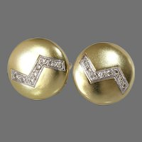 Round Brushed Gold Earrings | 14K Bicolor Diamond | Vintage Zigzag