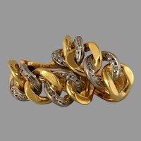 Retro Curb Link Gold Earrings | 18K Bicolor Diamond | Vintage Omega
