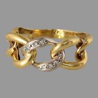 Retro Curb Link Gold Ring | 18K Bicolor Diamond | Vintage Round  Cut