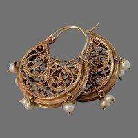 Bukharan Gold Hoop Earrings | 9K Rose Pearl | Vintage Ethnic Drop Dangle