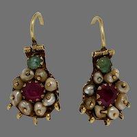 Bukharan Gold Drop Earrings | 18K Yellow Ruby Emerald | Pearl Vintage