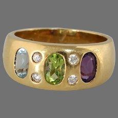 Peridot Amethyst Diamond Cocktail Ring   Aquamarine 14K Gold   Vintage