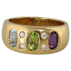 Peridot Amethyst Diamond Cocktail Ring | Aquamarine 14K Gold | Vintage