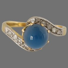 Art Deco Cabochon Sapphire Ring | 18K Gold Diamond | Swirl Engagement