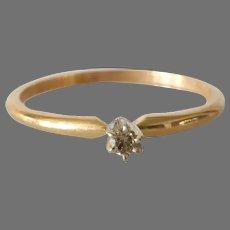 Brown Diamond Engagement Ring | Bicolor 14K Gold | Vintage Solitaire