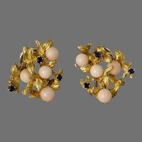 Retro Coral Gold Earrings | 18K Yellow Sapphire | Vintage Omega Salmon