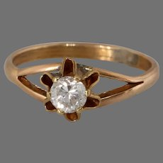 Art Deco Diamond Buttercup Ring | 10K Rose Gold | Vintage Engagement