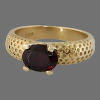 Retro Garnet Gold Ring   14K Yellow Oval   Vintage Solitaire Engagement