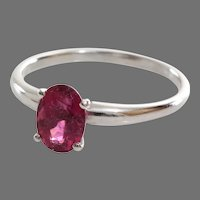 Pink Tourmaline Engagement Ring | 14K White Gold Oval | Vintage Solitaire