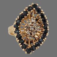 Diamond Sapphire Cocktail Ring | 14K Yellow Gold | Vintage Retro Pinky