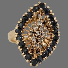 Diamond Sapphire Cocktail Ring   14K Yellow Gold   Vintage Retro Pinky