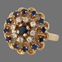 Sapphire Diamond Cocktail Ring | 14K Yellow Gold | Retro Cluster Vintage