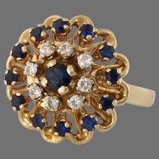Sapphire Diamond Cocktail Ring   14K Yellow Gold   Retro Cluster Vintage