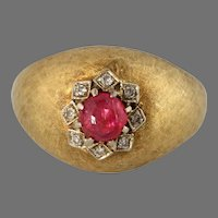 Retro Cabochon Ruby Dome Ring   18K Yellow Gold   Diamond Cocktail Italy
