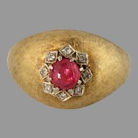 Retro Cabochon Ruby Dome Ring | 18K Yellow Gold | Diamond Cocktail Italy