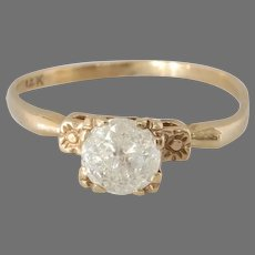 Vintage Diamond Engagement Ring | 14K Yellow Gold | Solitaire Israel