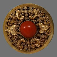 Victorian Etruscan Coral Pendant Brooch | 18K Yellow Gold | Antique Pin