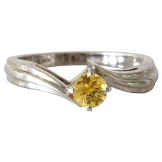Yellow Sapphire Engagement Ring | 14K White Gold | Vintage Solitaire