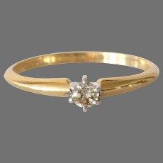 Vintage Diamond Engagement Ring | 14K Gold Bicolor | Israel Solitaire