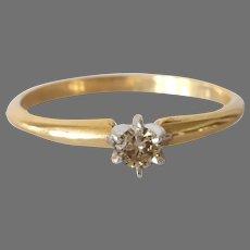 Brown Diamond Engagement Ring |14K Gold Bicolor | Vintage Solitaire