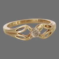 Solitaire Diamond Engagement Ring | 14K Yellow Gold | Vintage Israel