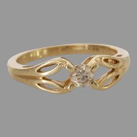 Solitaire Diamond Engagement Ring   14K Yellow Gold   Vintage Israel