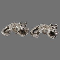 African Panther Silver Cufflinks | Vintage Sterling Tiger | Lost Wax